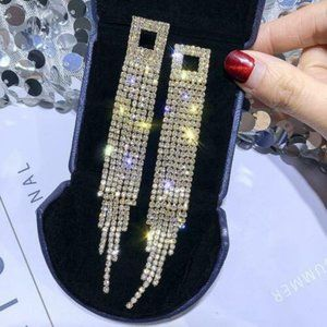 "4.75"" Long Drop CZ crystal Dangle Earrings"